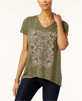 Style&Co. Style & Co V-Neck Metallic Graphic T-Shirt, Created for Macy's