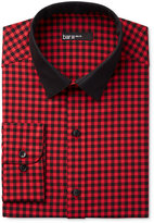 Bar III Men's Interchangeable Collar Slim Fit Red Gingham Dress Shirt, Only at Macy's
