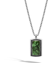 John Hardy Classic Chain Large Dog Tag Necklace with Nephrite Jade