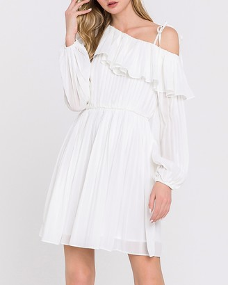 Express Endless Rose White Pleated One Shoulder Dress