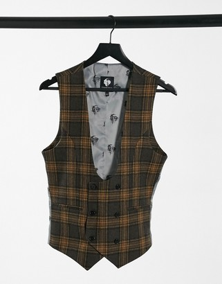 Twisted Tailor vest in brown and gray plaid