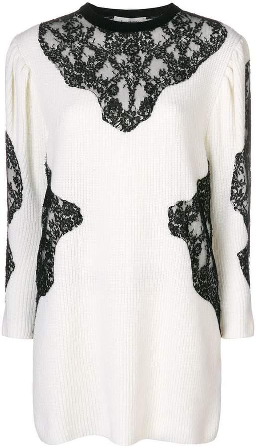 Valentino lace insert knit dress