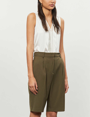 Reiss Chelsea sleeveless satin-silk and knitted blouse