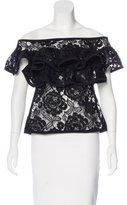 Alexis Embroidered Ruffle-Accented Top w/ Tags