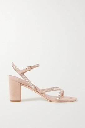 Stuart Weitzman Harlowe Crystal-embellished Suede Sandals - Neutral