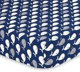 The Peanut Shell Whale Fitted Crib Sheet in Navy