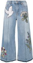 Alexander McQueen embroidered jeans - women - Cotton/Brass - 38