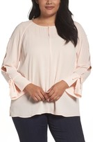 Sejour Plus Size Women's Button Sleeve Blouse