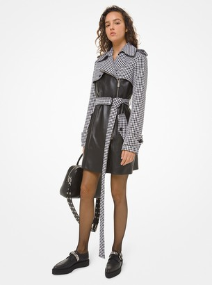 Michael Kors Dogtooth and Plonge Leather Cropped Trench Coat