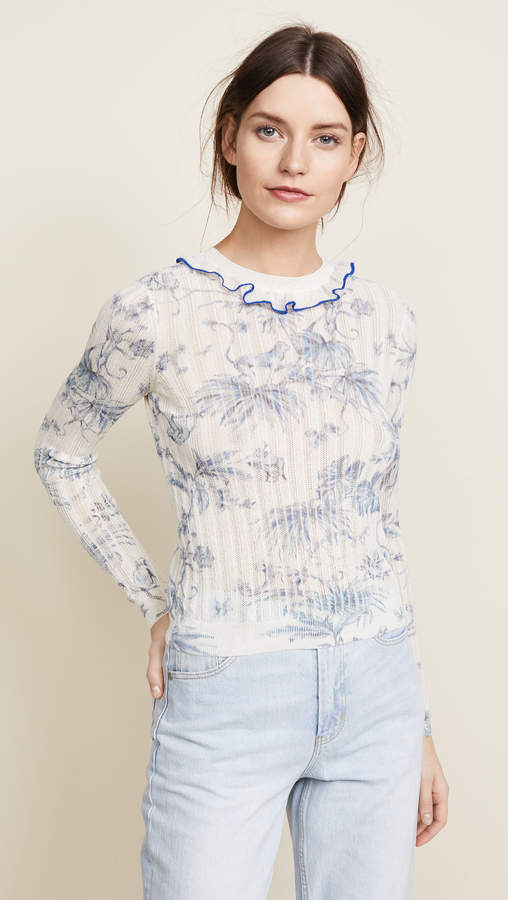 RED Valentino Floral Print Sweater