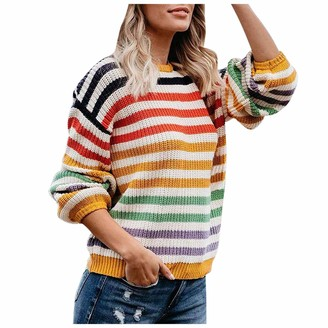 ZZXIAN Sweaters Women Rainbow Striped Jumpers Thermal Tops Beauty Tunic Long-Sleeved Knit Pullover for Ladies Autumn and Winter (L)