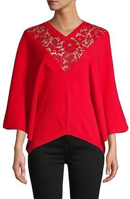 Valentino Lace Kimono-Sleeve Sweater