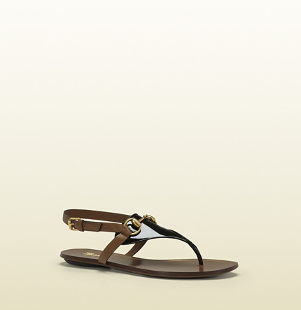 Gucci Alyssa Black Patent Leather Thong Sandal