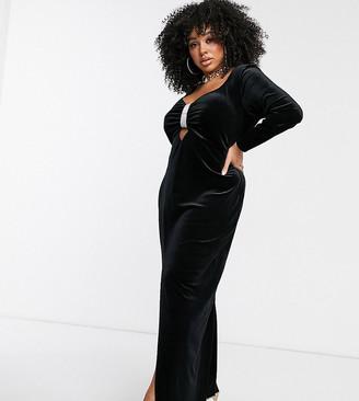 ASOS DESIGN Curve embellished trim velvet maxi dress
