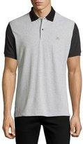Burberry Gravehurst Colorblock Piqué Polo Shirt, Gray