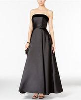 Xscape Evenings Petite Strapless Velvet-Trim Ball Gown