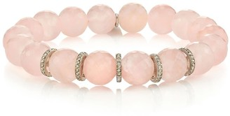 Sheryl Lowe Rose Quartz Beaded Bracelet With 5 Pave Diamond Rondelles
