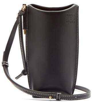 Loewe Gate Mini Logo-embossed Leather Necklace Pouch - Womens - Black