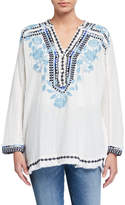 Johnny Was Vedera Embroidered Long-Sleeve Gauze Blouse
