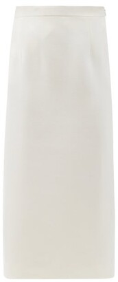 Alessandra Rich High-rise Wool-blend Crepe Pencil Skirt - White