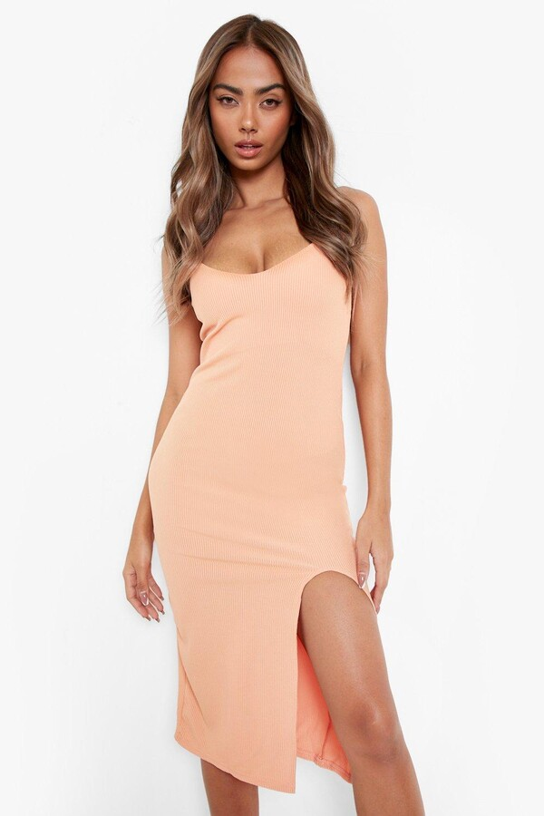 Thumbnail for your product : boohoo Strappy Side Split Rib Midi Dress