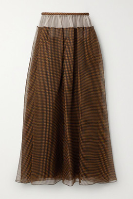 Fendi Tulle-trimmed Checked Silk-organza Maxi Skirt - Brown