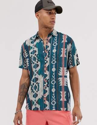 Bershka short sleeved shirt with geo-tribal print in green-Multi
