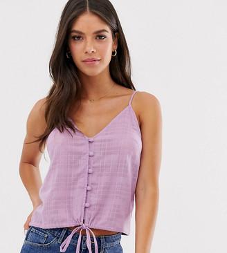 Asos DESIGN Tall cami button front sun top in grid check