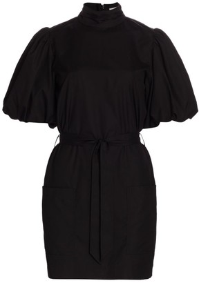 Frame Margot Puff-Sleeve Belted Dress