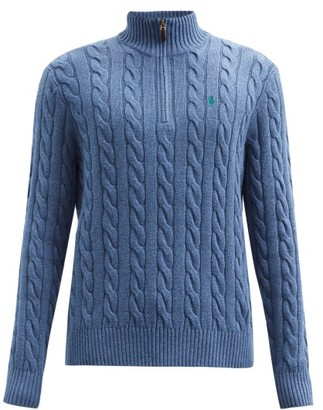 Polo Ralph Lauren High-neck Cable-knit Cotton Sweater - Light Blue