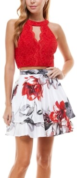 City Studios Juniors' Halter Top & Floral Skirt