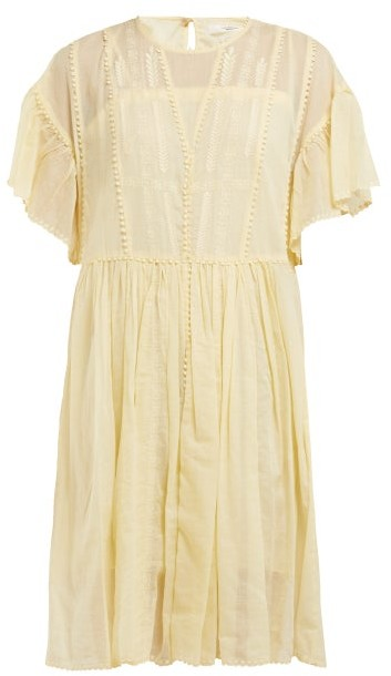 Etoile Isabel Marant Annaelle Embroidered Cotton Mini Dress - Womens - Light Yellow