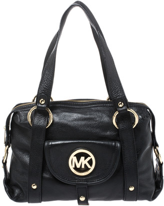 MICHAEL Michael Kors Black Leather Front Pocket Satchel