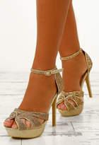Pink Boutique Dangerous Lust Gold Embellished Platform Heels