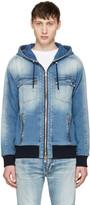 Balmain Blue Denim Zip Hoodie
