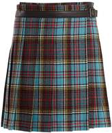 Junya Watanabe Tartan-checked pleated wool-blend skirt