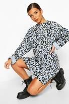 boohoo Leopard Print Sweat Dress With Overlock Detail