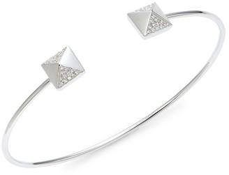 Saks Fifth Avenue 14K White Gold Diamond Pyramid Stud Cuff Bracelet
