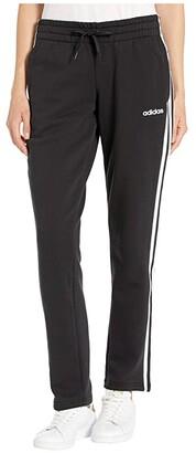 adidas Essential 3-Stripes Fleece Open Hem Pants (Black/White) Women's Workout