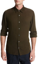 Vince Viscose-Wool Button-Front Shirt, Olive