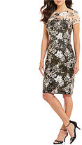 David Meister Jewel Neck Short Sleeve Embroidered Lace Sheath Dress