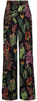 Oscar de la Renta Printed Silk-blend Crepe De Chine Wide-leg Pants