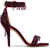 Givenchy Crystal-embellished Sandals In Burgundy Velvet - Claret