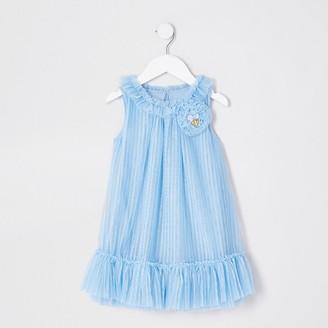 River Island Mini girls 'Angel Face' blue corsage dress