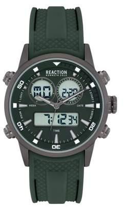 Kenneth Cole Reaction Men's Analog Digital Display Gunmetal Case Green Dial Green Silicon Strap Watch, 40 mm Case RK50971010