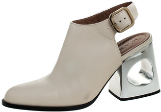 Marni Cream Leather Pointed Toe Contrast Block Heel Slingback Sandals Size 38.5