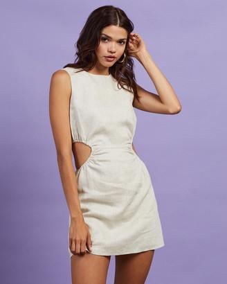Dazie - Women's Neutrals Mini Dresses - Abby Cut Out Linen Blend Dress - Size 10 at The Iconic