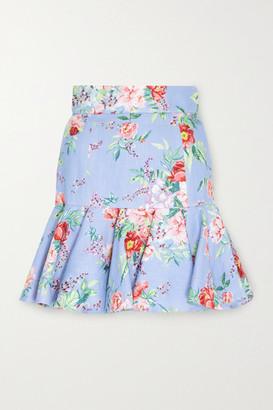 Zimmermann Bellitude Fluted Floral-print Linen Mini Skirt - Light blue