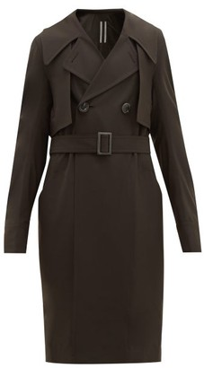 Rick Owens Double-breasted Gabardine Trench Coat - Brown