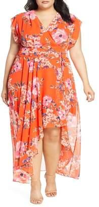 Eliza J Floral Print Chiffon High/Low Maxi Dress